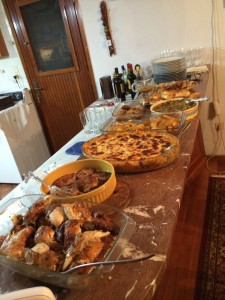food spread buffet for name day celebration in Greece